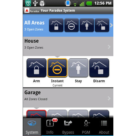 iparadox kontrola alarma preko mobilnog telefona